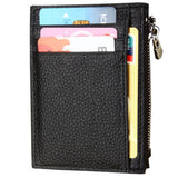 Genuine Leather Minimalist Wallet-RFID Blocking With Zipper - Black