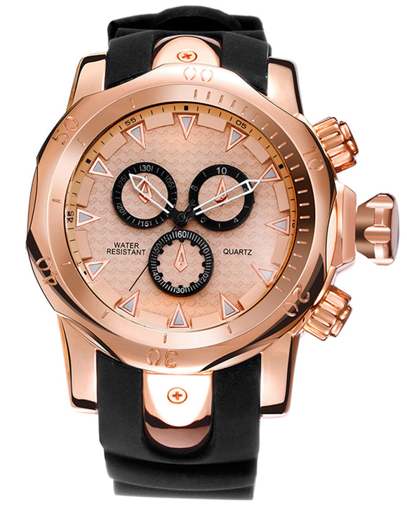 Skone Balfour Rose Gold Chronograph Mens Sports Watch - Black Silicone Band
