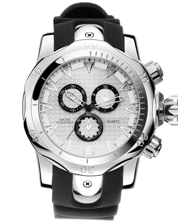 Skone Balfour Silver Chronograph Mens Sports Watch - Black Silicone Band