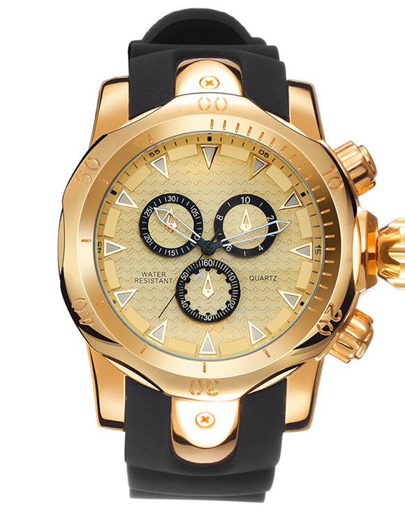 Skone Balfour Gold Chronograph Mens Sports Watch - Black Silicone Band