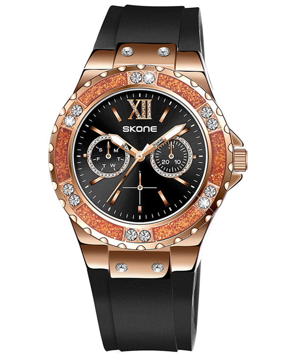 Skone Rose Gold Emperor Watch Black Silicone Strap
