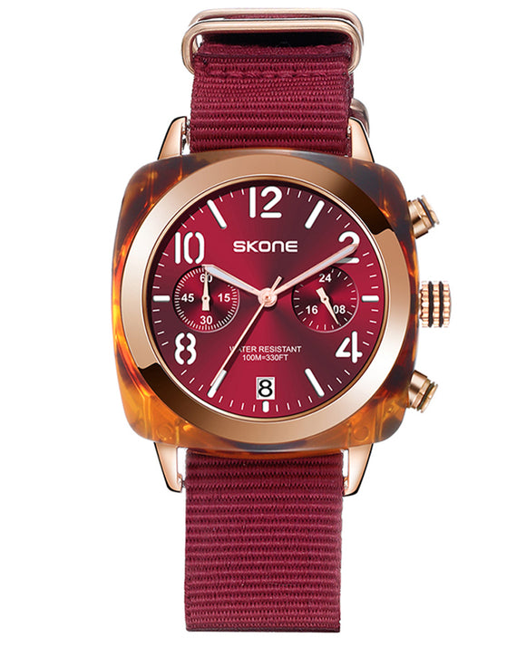 Skone Gifford Chronograph Mens Watch Maroon Nylon Strap