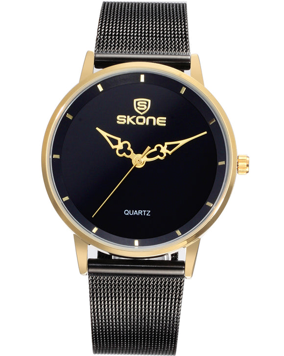 Skone Oxford Ladies Steel Chain Watch - Gold & Black