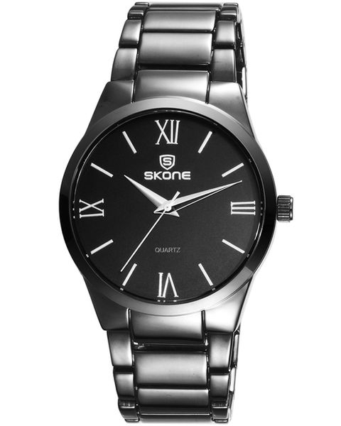 Skone Sheldon  Mens Watch Black Link Strap - Silver Detail