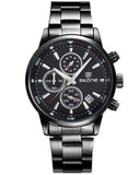 Skone Black Clapham Chrono Men's Watch - Gunmetal Link Strap