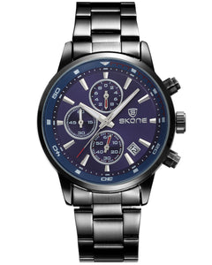 Skone Blue Clapham Chrono Men's Watch - Gunmetal Link Strap