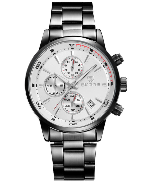 Skone White Clapham Chrono Men's Watch - Gunmetal Link Strap