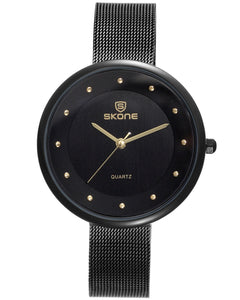 Skone Gloucester Black Ladies Watch - Gold Detail
