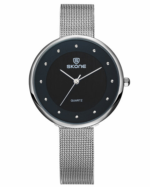Skone Gloucester Ladies Watch - Black & SIlver
