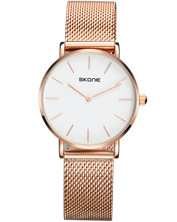 Skone Camden Rose Gold 32mm Watch With Magnetic Clasp - White