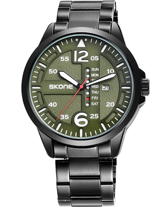 Skone Rochester Olive Men's Watch - Black Link Strap
