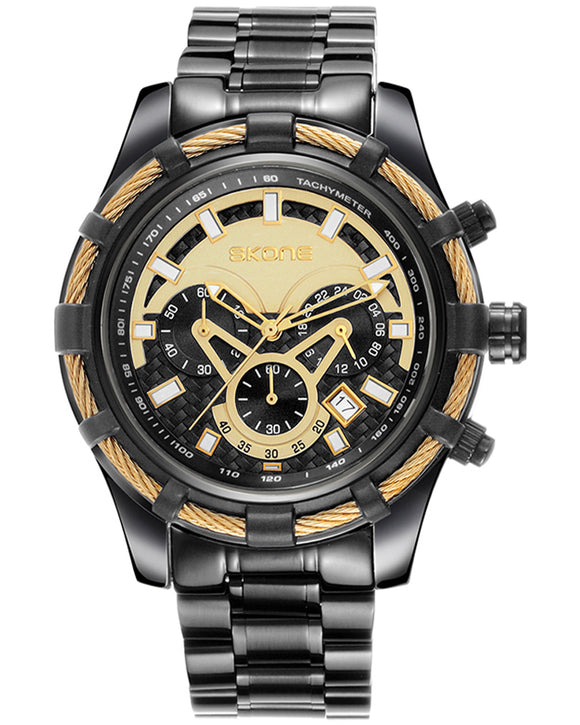 Skone Yachtsman Steel Men's Watch Black & Gold