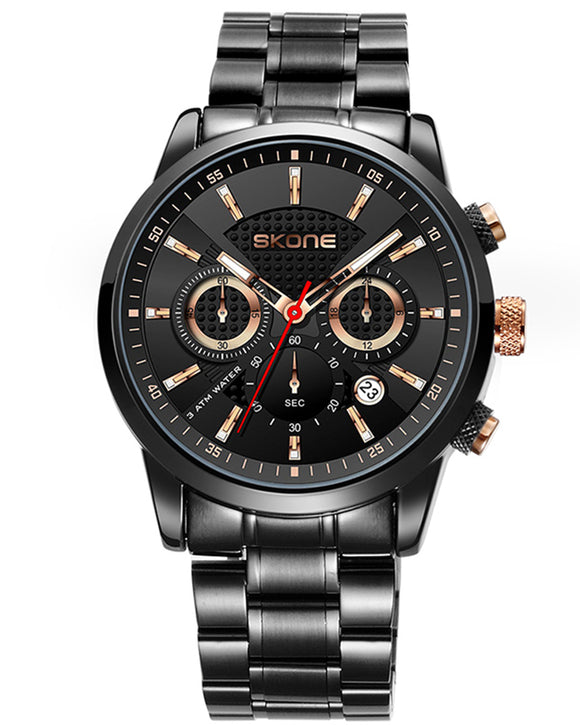 Skone Limerick Black Chronogaph Mens Analogue Watch