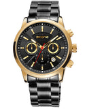 Skone Limerick Black & Gold Chronogaph Mens Analogue Watch