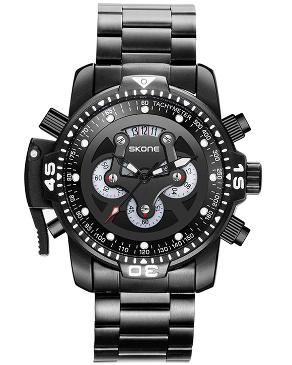 Skone Bradford Chronograph Men's Watch Black Link strap - Black