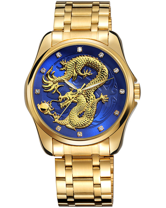 Skone Pendragon Quartz Movement Luxury Watch Mens - Gold & Blue