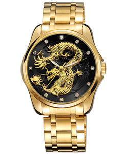 Skone Pendragon Quartz Movement Luxury Mens Watch - Gold & Black