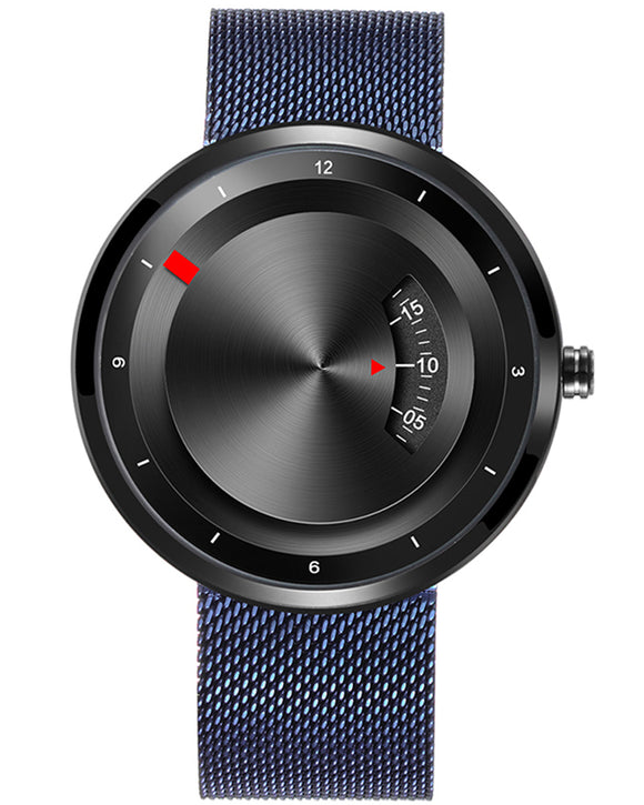Skone Black Miller Quartz Movement Watch - Blue Mesh Strap