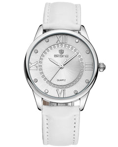 Skone Baily Diamante Ladies Watch - White Strap