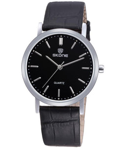 SKONE Shrewsbury Mens Silver & Black Black Watch - Black Leather Strap