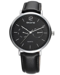 Skone Chiswick Mens Silver & Black Watch - Black Strap