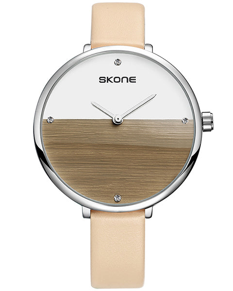 Skone Selkirk Silver Ladies Watch - Salmon Pink Strap