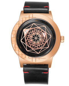 "Skone ""Mystery Of Time"" Iconic Leather Mens Watch - Rose Gold"