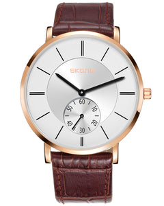 Skone Lincoln White Unisex Watch Brown Leather Band