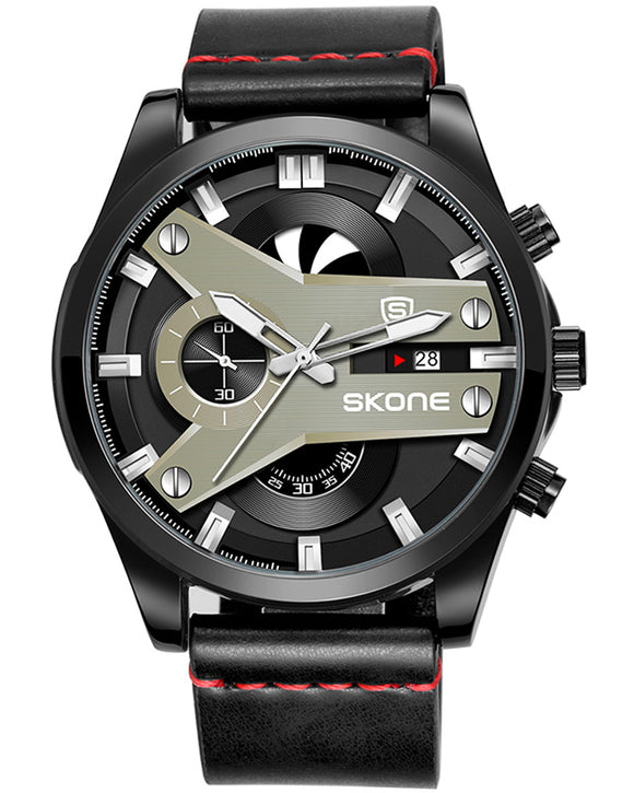 Skone Fletcher Black Chronograph Men's Watch - Red