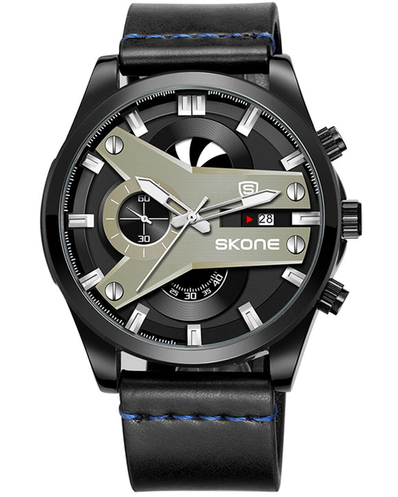 Skone Fletcher Black Chronograph Men's Watch - Blue