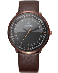 SKONE Kensington Mens Rose Gold Watch - Brown Strap