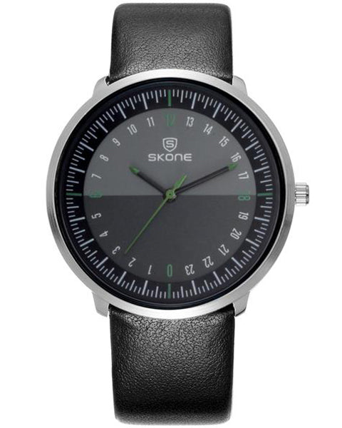 SKONE Kensington Mens Silver & Green Watch - Black Strap