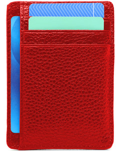Genuine Leather Minimalist Wallet-RFID Blocking-Red
