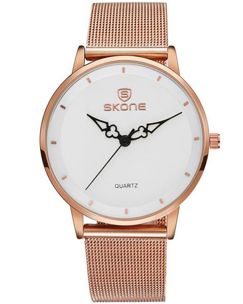 SKONE Oxford Ladies Rose Gold Watch - Steel Chain