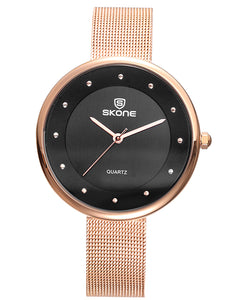 Skone Gloucester Ladies Watch - Black & Rose Gold