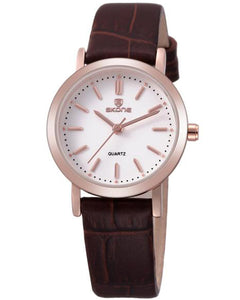 SKONE Shrewsbury Ladies Rose Gold Watch - Brown Leather Strap