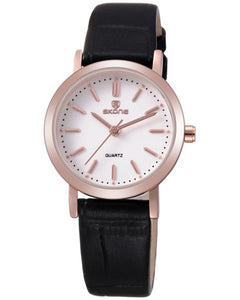 SKONE Shrewsbury Ladies Rose Gold Watch - Black Leather Strap