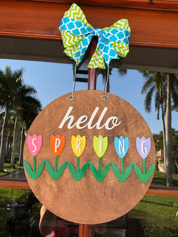 Hello Spring Door Sign