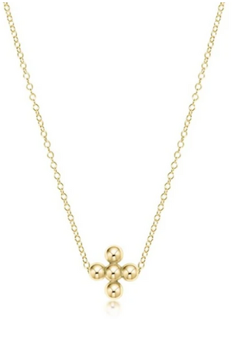 Beaded Cross Gold Necklace
