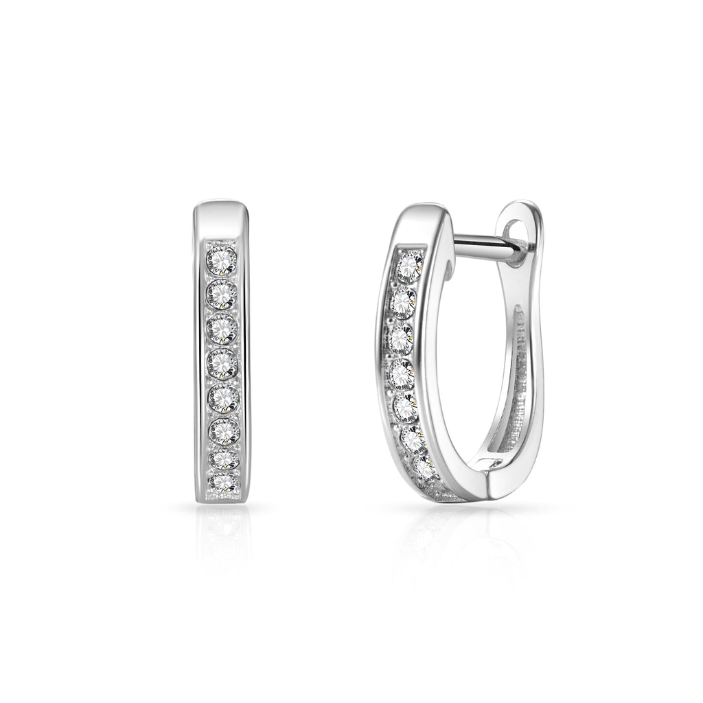 Silver Channel Set Hoop Earrings Created with Swarovski Crystals