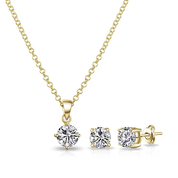 Gold Round Solitaire Set Created with Swarovski Crystals