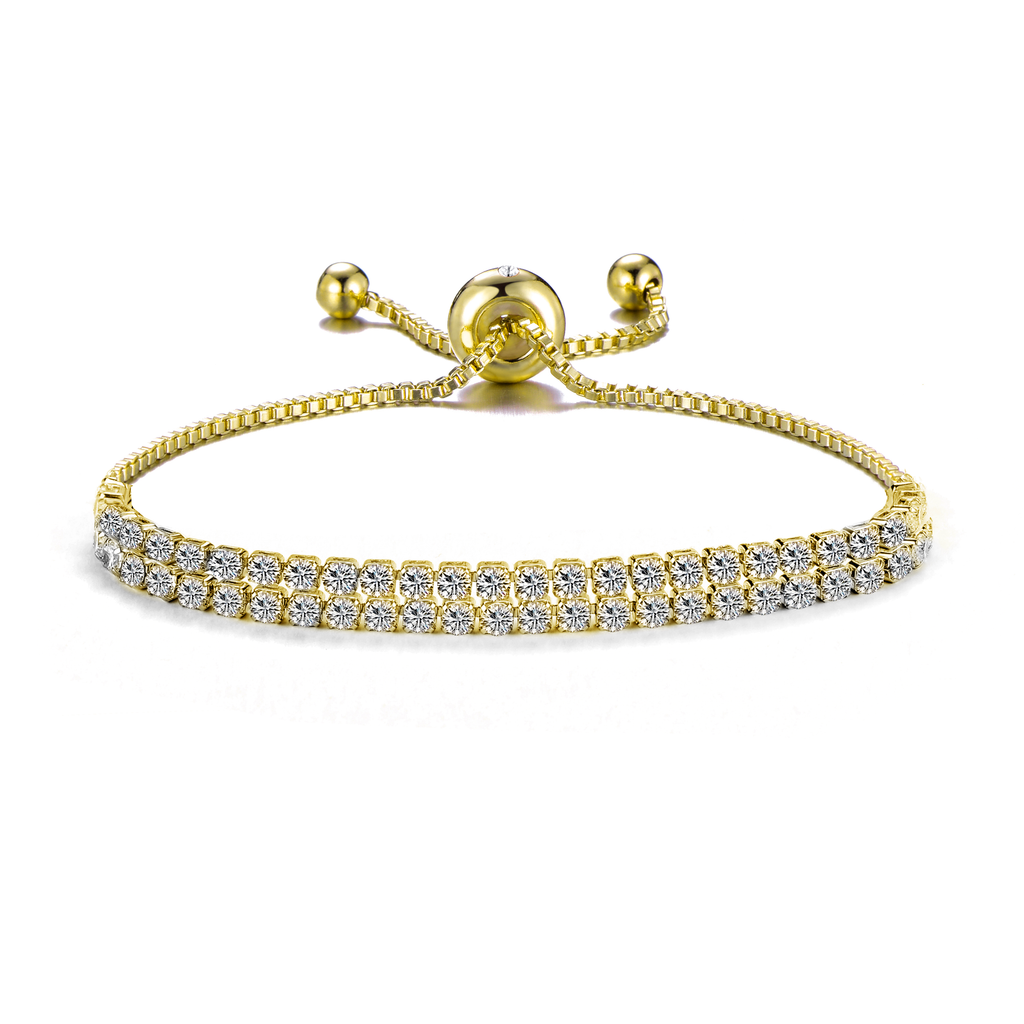 Gold Double Row Tennis Friendship Bracelet Created with Swarovski® Crystals