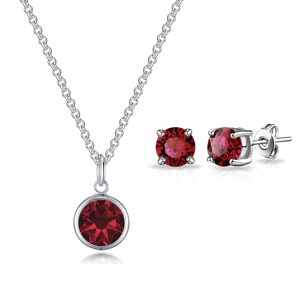 January (Garnet) Birthstone Necklace & Earrings Set Created with Swarovski® Crystals