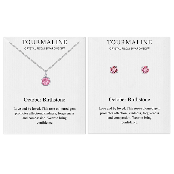 October (Tourmaline) Birthstone Necklace & Earrings Set Created with Swarovski® Crystals