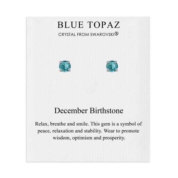 December (Blue Topaz) Birthstone Earrings Created with Swarovski® Crystals