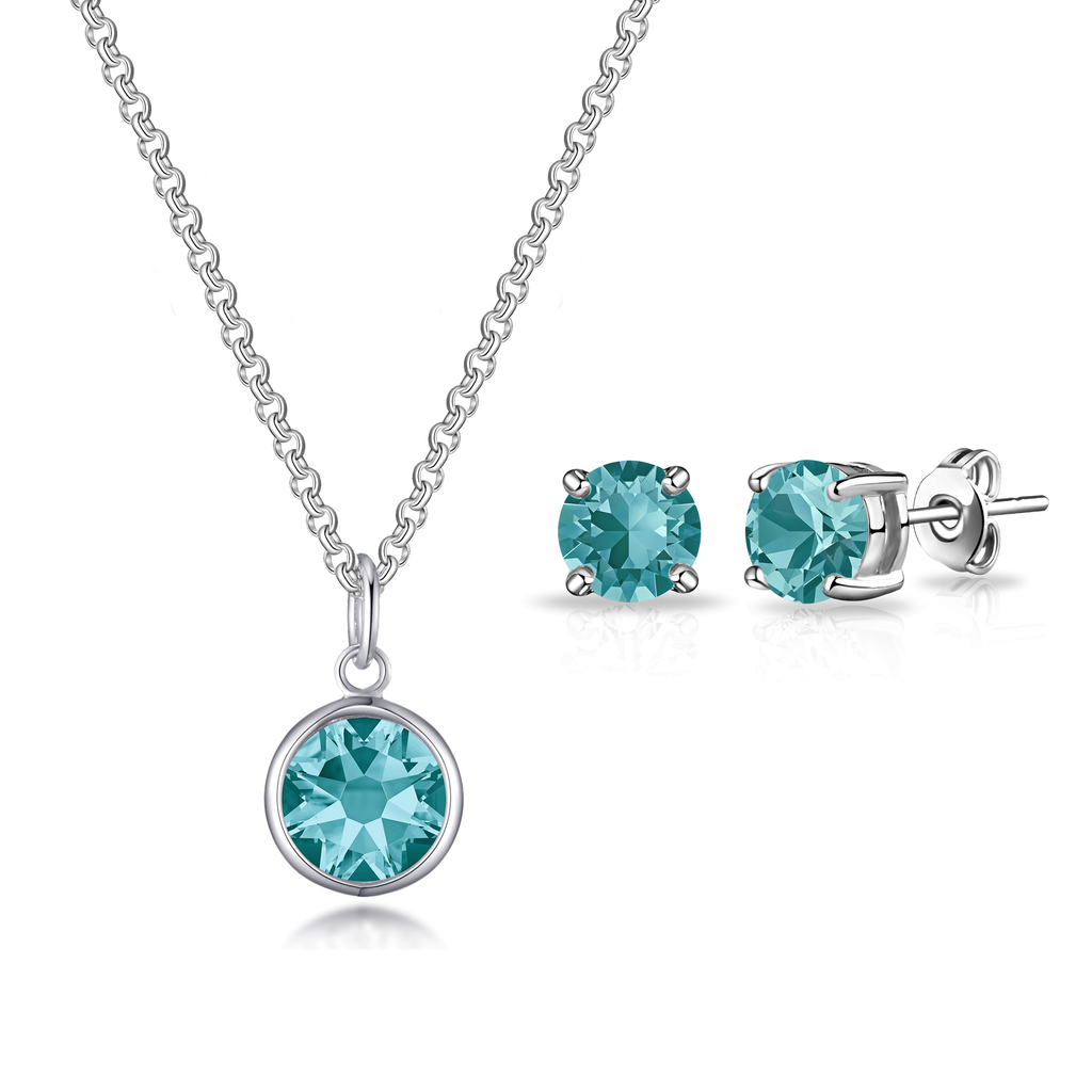 December (Blue Topaz) Birthstone Necklace & Earrings Set Created with Swarovski® Crystals