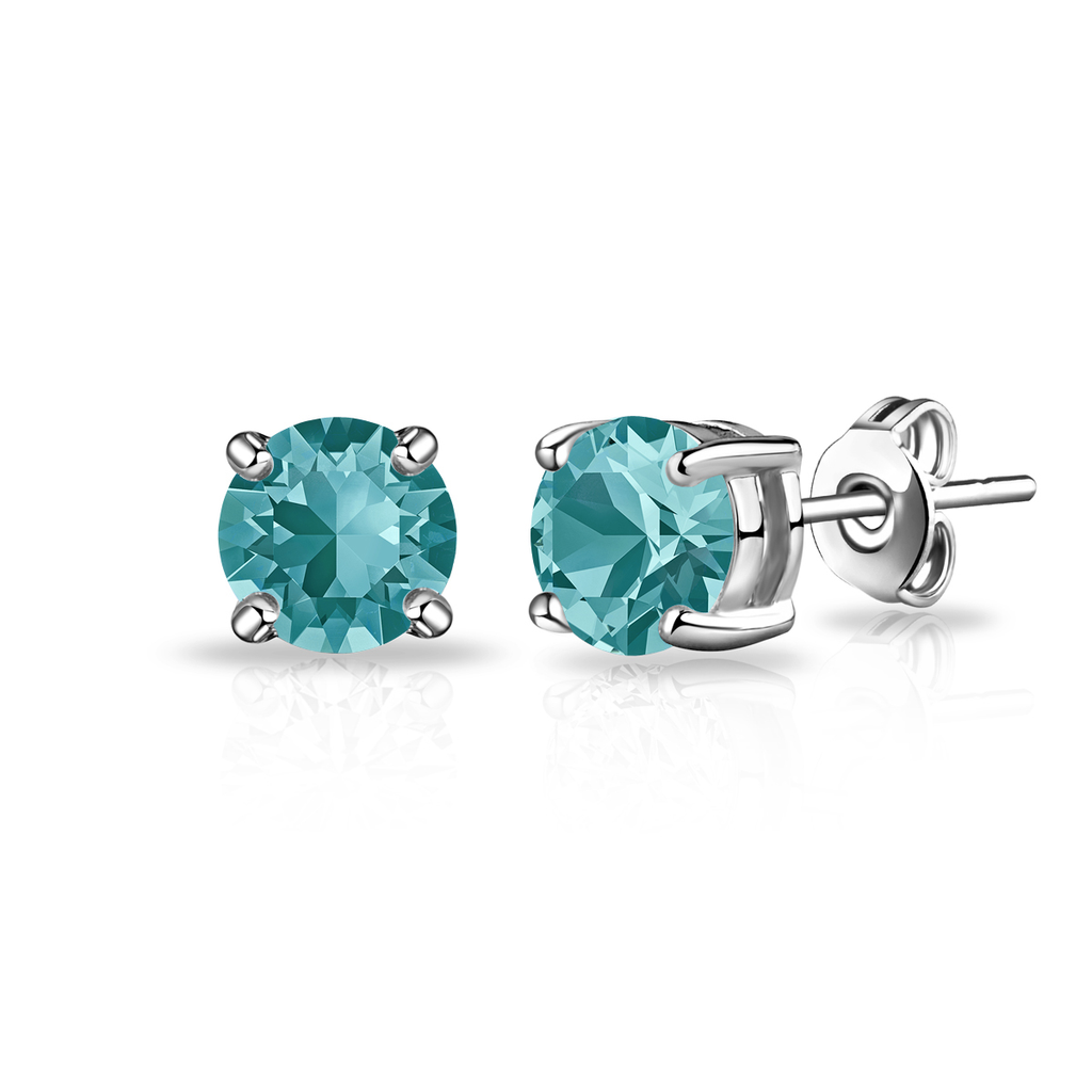 Blue Stud Earrings Created with Swarovski® Crystals