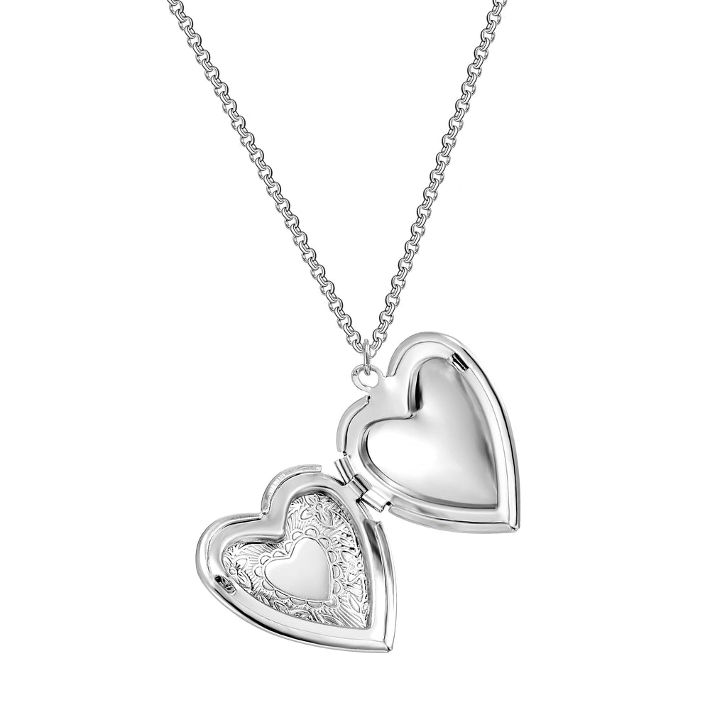 Silver-Tone Heart Locket