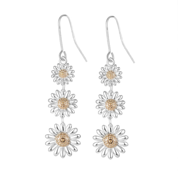 Triple Daisy Drop Earrings
