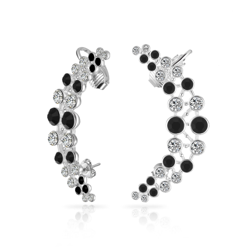 Black and White Crystal Climber Earrings